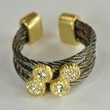 Gunmetal Wire Rope & Pave Crystals Ring - Gold