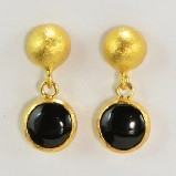 24K Vermeil Round Onyx Drop Earrings
