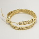 Nakamol Goldtone Leather Outlined Gold Chain & Crystal Wrap