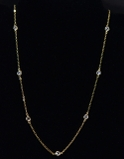 CZ Station Necklace - Gold 16""