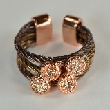 Brown Wire Rope & Pave Crystals Ring - Rose Gold