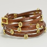 Rush by Deni & Charles Light Brown Leather Wrap & CZ Bracelet