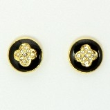 Black Enamel Clover Crystal Stud Earrings - Gold