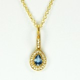 Azaara 22k Vermeil with Aquamarine Teardrop with Pave CZ  Pendant Necklace