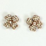 Azaara Vintage Swarovski Crystal Flower Rose Gold Stud Earrings