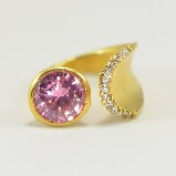 24K Gold-Plated Tiffany Style Pink Crystal & CZ  Ring