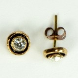 Azaara Antique Gold & Black Rhodium CZs Stud Earrings