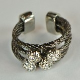 Gunmetal Wire Rope & Pave Crystals Ring - Silver