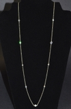 CZ Station Necklace - Silver 36""