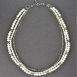 j-l Multi-Strand Howlite with Silver Elements Necklace