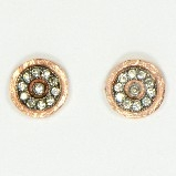 AJS Design Rose Gold Circle Post with CZs Earrings