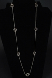 Black Enamel Circle Station Necklace - 36""