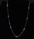 CZ Station Necklace - Silver 16""