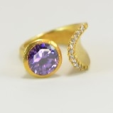 24K Gold-Plated Tiffany Style Purple Crystal & CZ  Ring