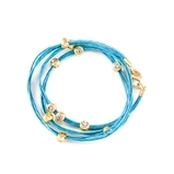 Marlyn Schiff Crystal Wrap Bracelet - Turquoise/Gold