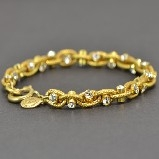 La Vie Parisienne Gold Fancy Rope Link with Crystals Bracelet