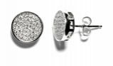 Sterling Silver Round Pave CZ Earrings