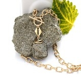 Karley Smith - Pyrite Square & Gold plated Pendant on Gold plated Textured Oval Chain