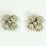Azaara Vintage Swarovski Crystal Flower Silver Stud Earrings