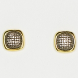 18K Vermeil Small Square Oxidized Pave