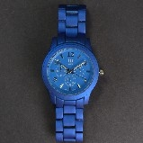 Designer Matte Blue Metal Watch
