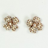 Azaara Vintage Swarovski Crystal Flower Antique Finish Stud Earrings