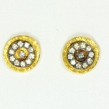 AJS Design 22K Vermeil Circle Post with CZs Earrings