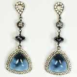 Azaara Rhodium Accents with Swarovski London Blue Crystals Earrings