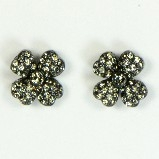 Azaara Vintage Swarovski Crystal Flower Oxidized Finish Stud Earrings